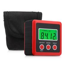 Red Precision Digital Protractor Inclinometer Water Proof Level Box Digital Angle Finder Bevel Box With Magnet Base
