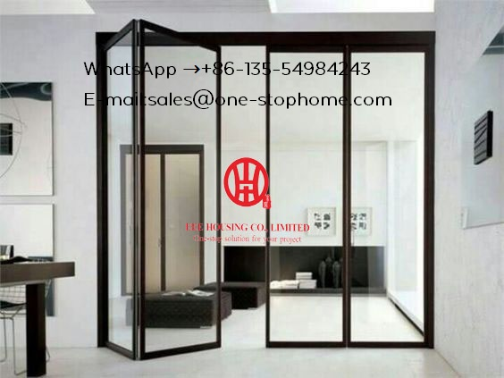 Wooden Color Safety Glass Aluminum Folding Door