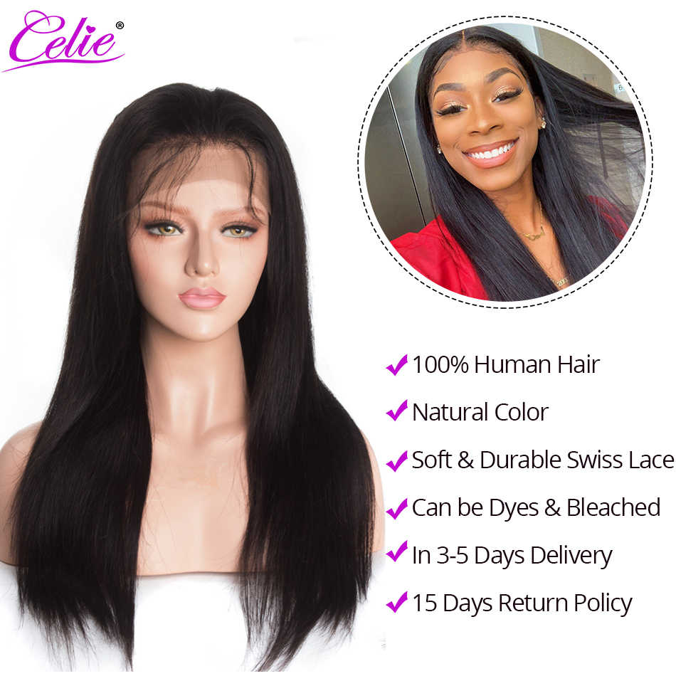 Celie HD Lace Wig Straight Lace Front Wigs 150 180 250 Density 13x4 Lace Front Human Hair Wigs Pre Plucked Transparent Lace Wig