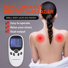 цена на Dual Channel Electric TENS Therapy Massager Relax Muscle Pain Relief Stimulator + 8 Gel Electrode Pads Health Care Birthday Gift
