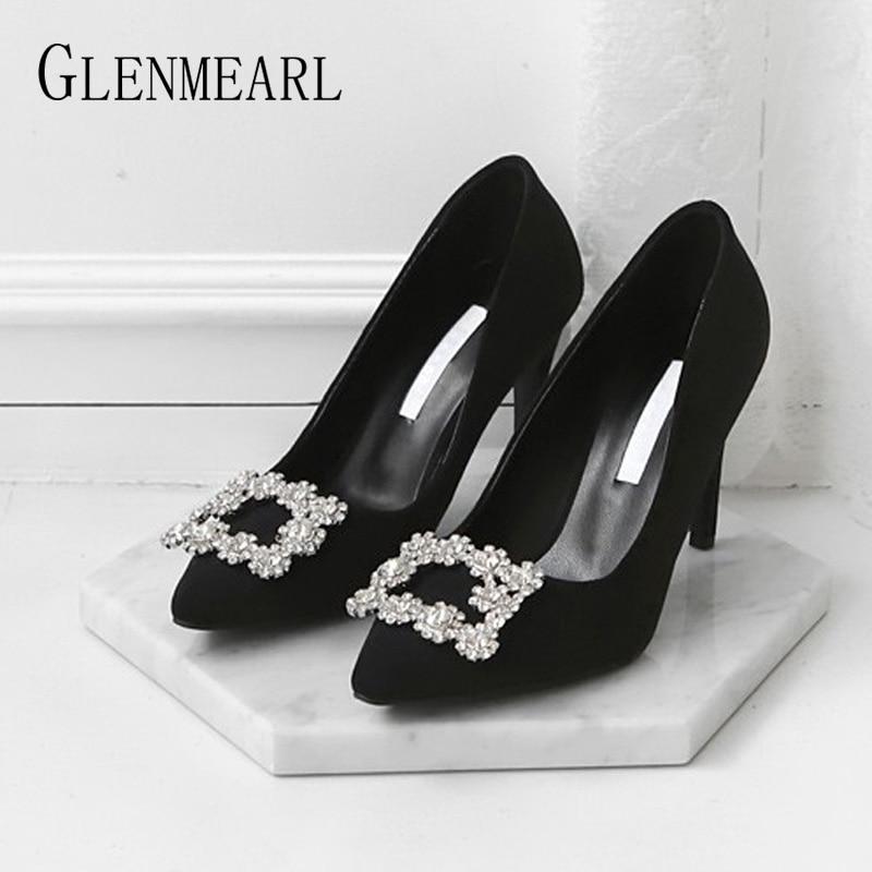 Women High Heels Brand Women Pumps Female Shoes Metal Decoration Fashion Thin Heels Pointed Toe Casual Shoes Plus Szie 2019 DE