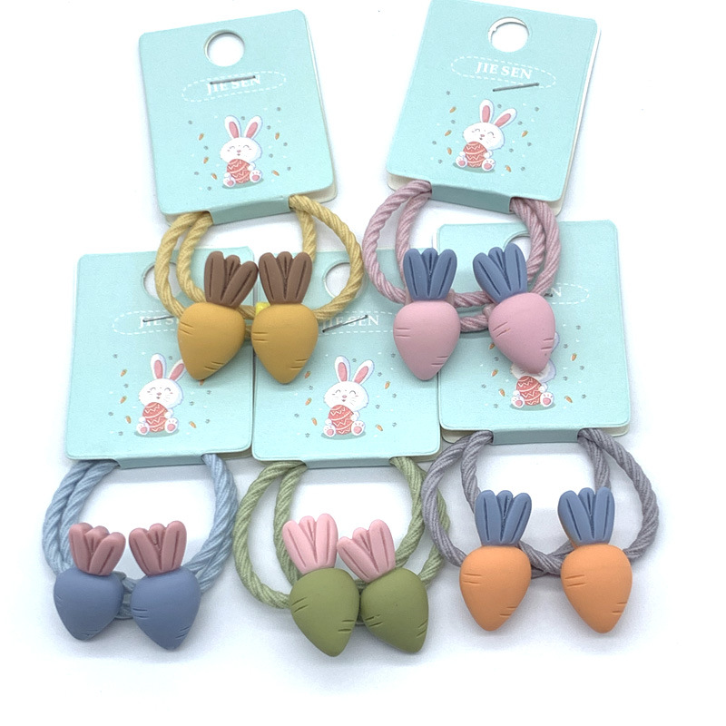 2Pcs/Pack Children Mini 3cm Elastic Rubber Bands Girls Cute Carrot Candy Fruits Hair Band Kids Ponytail Holder Hair Accessories