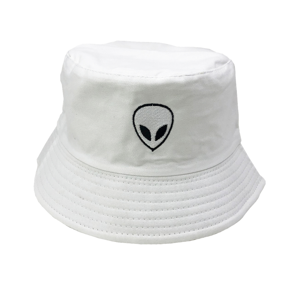 Unisex Embroidered Alien Foldable Bucket Hat Beach Sun Hat Street Headwear Fisherman Outdoor Cap Men and Woman Hat