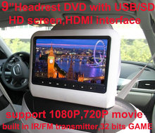 送料無料9インチ車のヘッドレストdvdプレーヤーusb/sd、ブラケット、hdmi、32ビットゲーム、ir、fmトランスミッター、hdスクリーン、スピーカーを内蔵