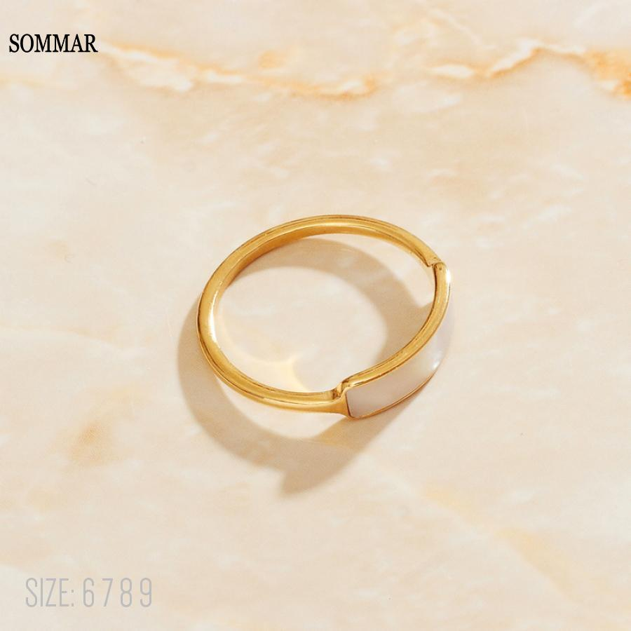 SOMMAR online shopping india 18KGP Gold Filled size 6 7 8 9 Tail ring for female Reduced White Shell opal diy