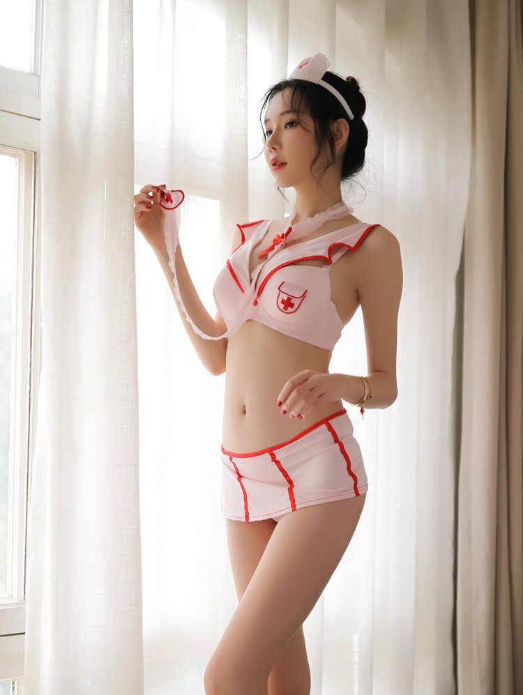 Kawaii Lingerie infirmière Cosplay français bonne uniformes tentation arc sexe jupe jouer Langerie Kawaii sous-vêtements femmes Sexy Porno chaude