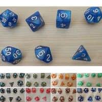 Dados creativos de 7 juegos, dados multicolores D & D, dados multicolores blancos mezclados D4 D6 D8 D10 D12 D20 DND