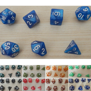 Hot Sell 7 X Creative Game Dice D&D Colorful Multicolor Dice Mixed White D4 D6 D8 D10 D12 D20 DND Dice