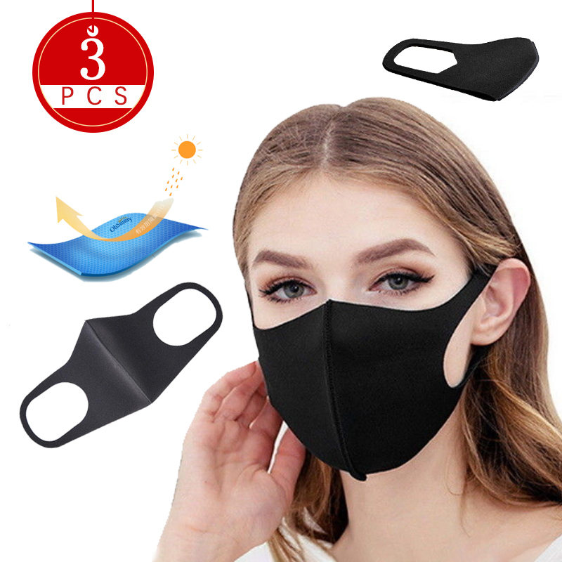 3pcs Antipolucion Mask Mouth Caps Mask Protection Masks With Filter Breathable For Female Male Korean Mouth Masks
