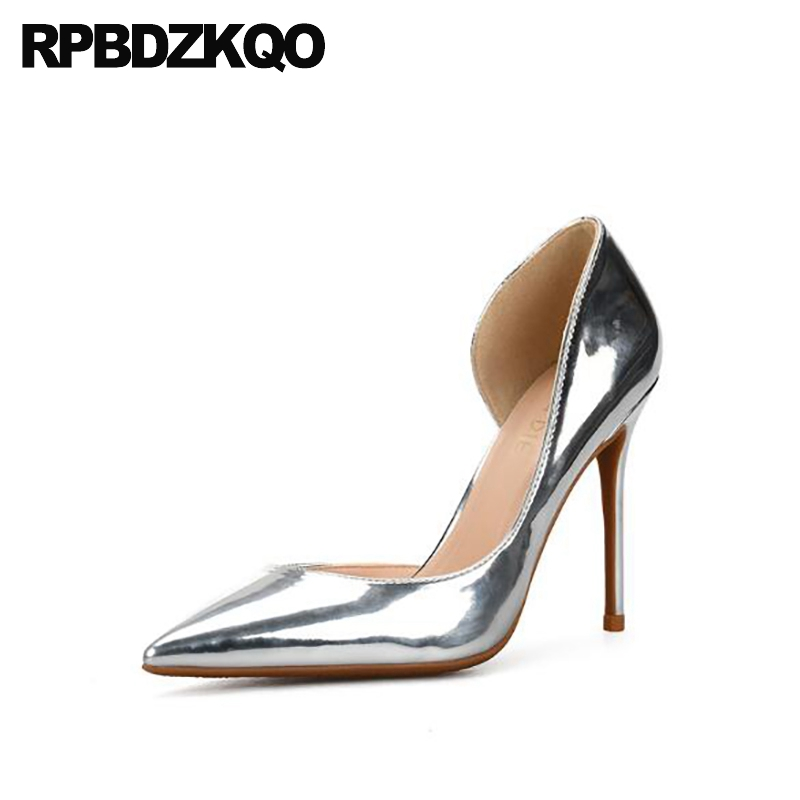 large discount better sale online US $87.72 |10 42 ultra evening metallic stiletto ladies silver high heels  sandals super size 33 8cm shoes pumps pointed toe big extreme new on ...
