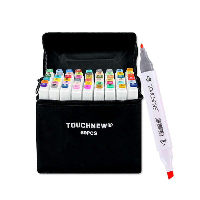 TouchFIVE 30/40/60/80 Color Felt-Tip Markers Manga Drawing Markers Pen Alcohol Based Sketch Oily Twin Brush Pen Art Supplies