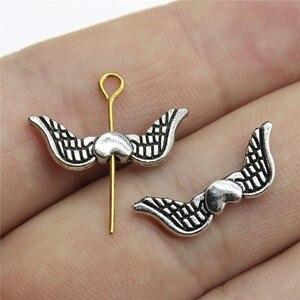 40 pçs asas de anjo coração charme asas europeu pequeno buraco espaçador contas coração asas pequeno buraco contas 7x20mm