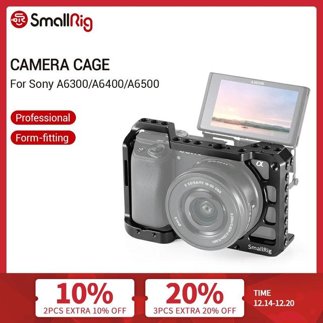 SmallRig a6400 Cage for Sony A6300/ A6400 /A6500 Form Fitted DSLR Camera Cage With 1/4 And 3/8 Threading Holes   2310