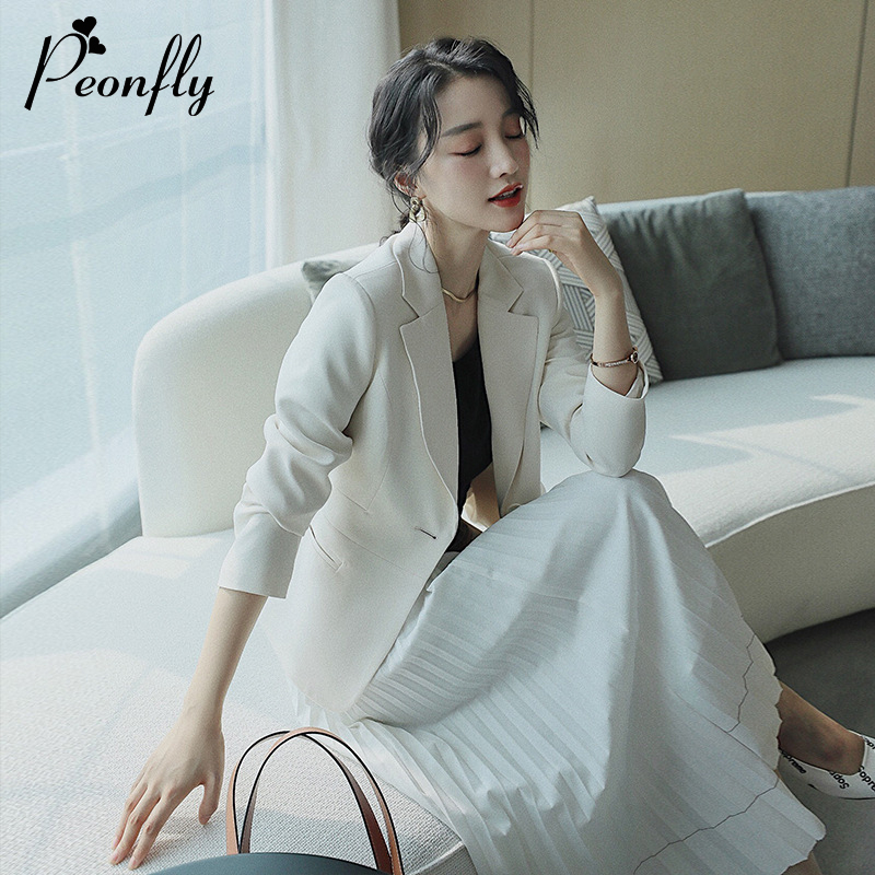 PEONFLY 2020 Women's Blazer Fashion Spring Long Sleeve Blazers Solid One Button Coat Slim Office Lady Jacket Female Blazer