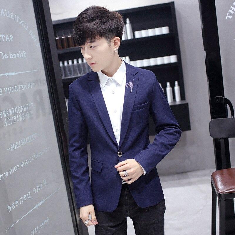 One-Button Suit Men's Solid Color Single West Tops Korean-style Slim Fit Youth MEN'S Coat MEN'S Suit