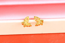 Golden Butterfly Stud Earrings Wedding Jewelry Korean Scrub Retro Birthday Gift