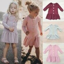От 1 до 5 лет платье для маленьких девочек повязка на голову, комплект из 2 предметов, осенняя одежда однотонный вязаный свитер, платье для девочек, одежда платье для малышей
