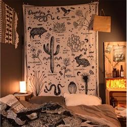 Новейший гобелен Saguaro Hippie, Настенный декор, ткань в стиле бохо, украшение комнаты, кактус, мандала, гобелен, декор для комнаты