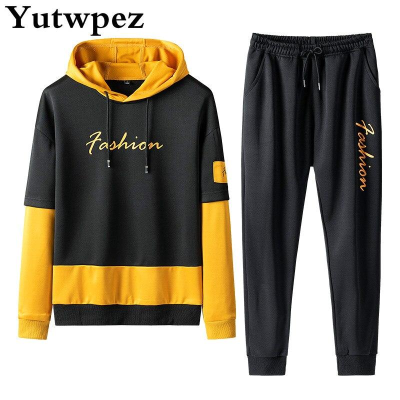 Sweatshirt Men Hoodies Patchwork Fashion Brand New 2PCS Autumn Spring Collar Set Stand