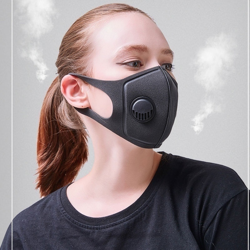 Fashion Black Sponge Mask With Adjustable Straps And A Washable Valve Mask Outdoor