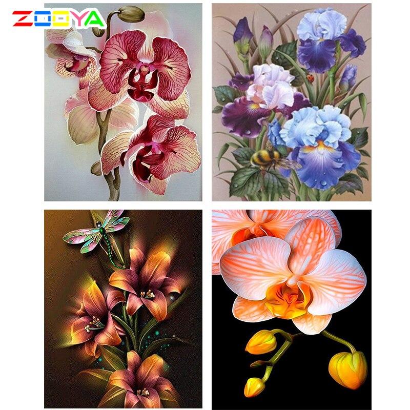 ZOOYA Icons 5 D алмазная живопись полный квадратный \ Полный Круглый полный набор полная дрель алмазная живопись цветы алмазная вышивка 5D ZM15