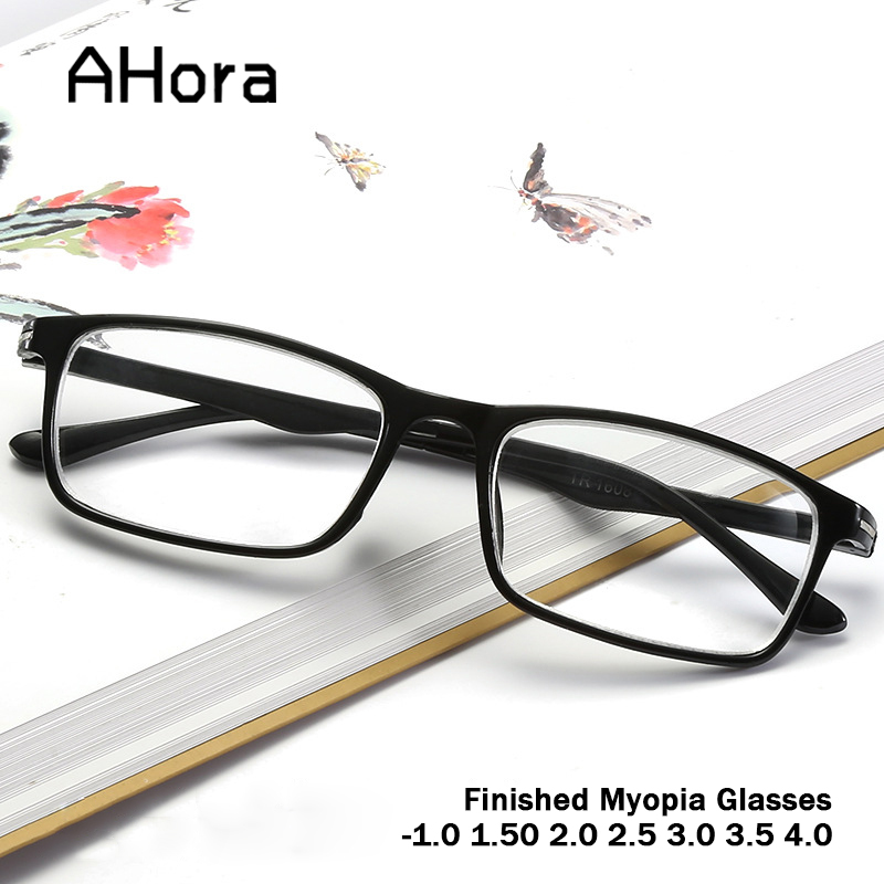 Ahora Men Women Finished Myopia Glasses With Diopter -1.0 1.50 2.0 2.5 3.0 3.5 Vintage Retro Resin Lens Myopia Eyewear Frame