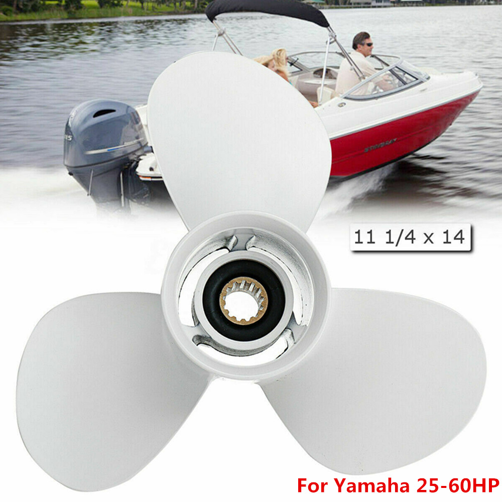Boat Outboard Propeller 3 Blades 13 Spline Tooth R Rotation Aluminum White 663-45958-01-EL For Yamaha Outboard Engines 25-60HP