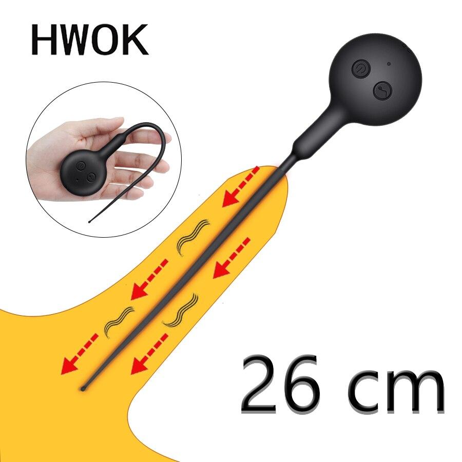 HWOK Urethral Vibrator Catheter Penis Plug Sex Toy For Men Penis Insertion Urethral Sound Dilator Silicone Men's Masturbator