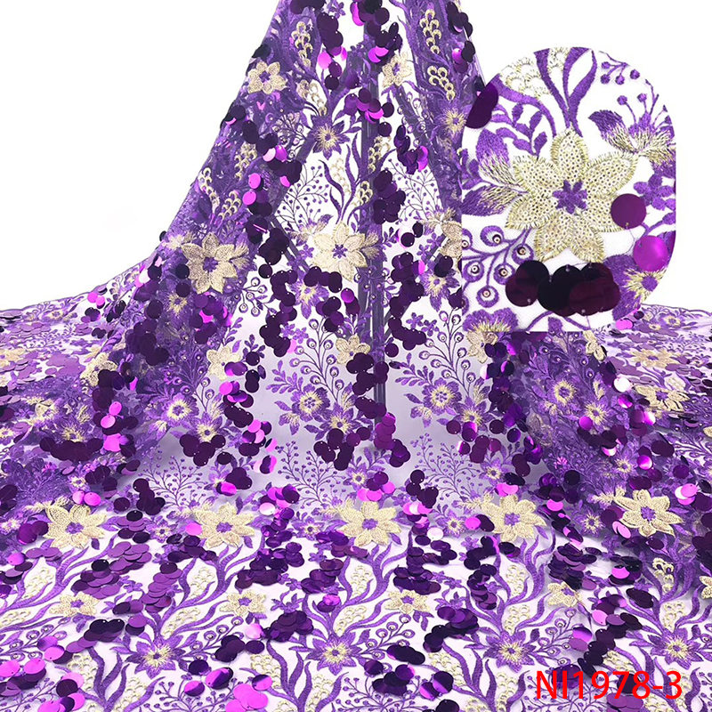 Hot Sale French Tulle Lace Fabric Africa Fine Lace Fabric Nigerian Embroidered Laces With Sequins for Wedding Purple KSNI1978B-3