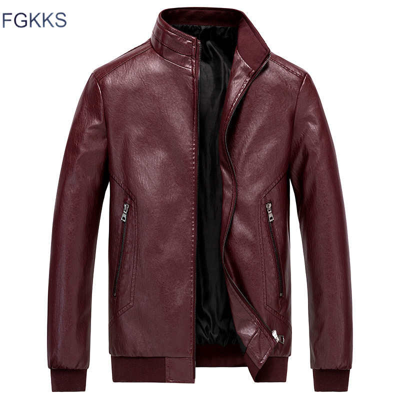 FGKKS Men High Quality Leather Jackets Coat Winter Men's Fashion Motorcycle Faux Jacket Overcoat Male Casual PU Jackets Coats