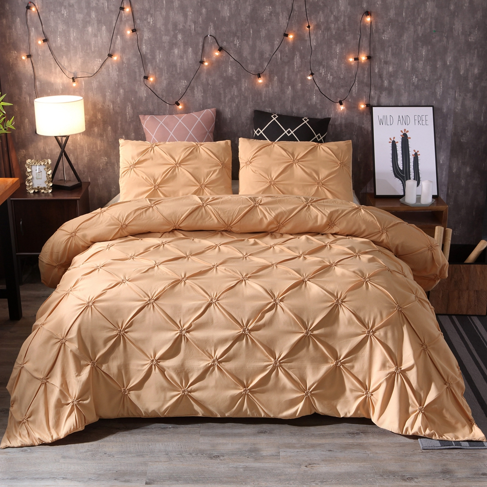 Solid Color Luxury gray Quilt / Duvet Cover set Pinch Pleat Brief Bedding Set Queen King Sizes Silk Flower Luxury Bedding Sets
