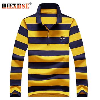 2020 wysokiej jakości męskie koszulki Polo haft koszulka Polo Casual koszulki Polo męska koszulka polo z długim rękawem 2020 New Arrival polo tanie i dobre opinie HIEXHSE Pełna CN (pochodzenie) REGULAR Na co dzień W paski COTTON Przeciwzmarszczkowy Kontrast kolorów