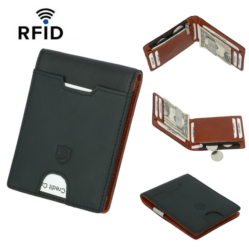 Slim Minimalist Front Pocket Blocking Card Genuine Leather Wallets Money Clip Credit Card Slots Coin Holder For Men