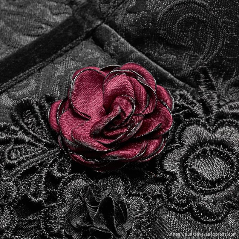 Corset Sexy à la mode PUNK gothique victorien pour femmes en Jacquard noir avec décoration Rose rouge Corset Club Corselets Steampunk - 6