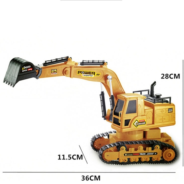 RC Excavator Simulation Engineering Tractor Car Toy 10CH Boy Remote Control Toy Child Christmas Gift RC Truck 1