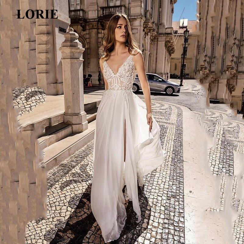LORIE Lace Beach Wedding Dress 2019 A Line Side Split Top Lace Boho Bride Dresses Vestidos De Novia Custom Made