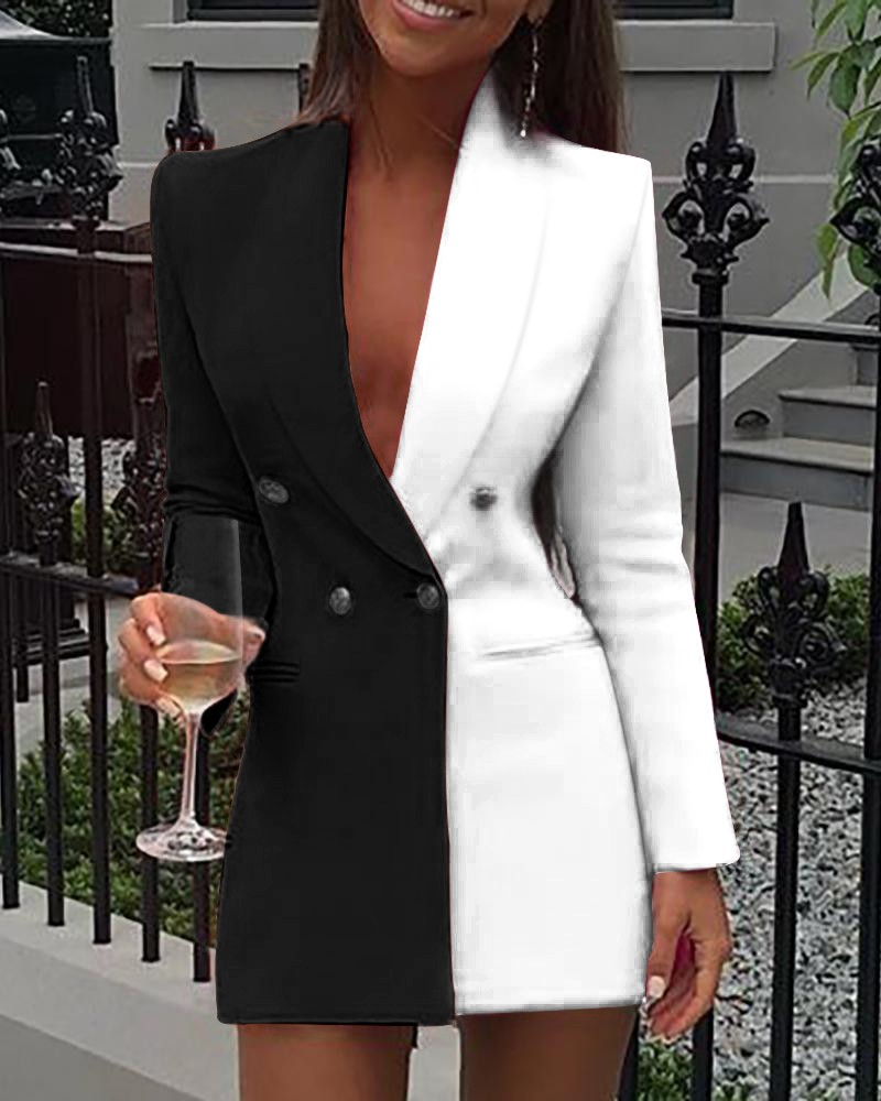 Women Office Dress Colorblock Patchwork Long Sleeve Blazer Dress Sexy Deep V Neck Button Design Casual Mini Dress Workwear