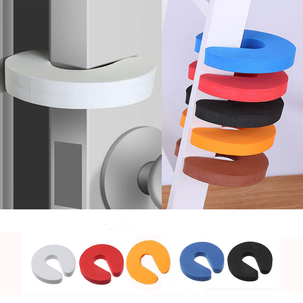 5PCS EVA C Shape Security Cabinet Locks Door Clip Baby Safety Locks Children Protection Kids Finger Safe Soft Foam Door Stopper
