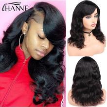 Wig100%Human-Hair-Wigs Body-Wave Natural Women's Black/white Brazilian HANNE with Bangs