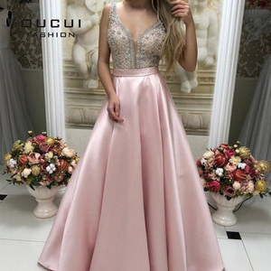 Image 5 - Deep V neck Beaded Formal Pageant Evening Dresses 2019 Long Red Satin Prom Dresses with Pocket Backless Sweep Train OL103517