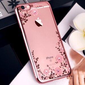 Image 2 - בלינג יהלומי קריסטל מקרה עבור iPhone 8 בתוספת 7 בתוספת יוקרה מותג ריינסטון שקוף קשיח טלפון כיסוי עמיד הלם Kingxbar
