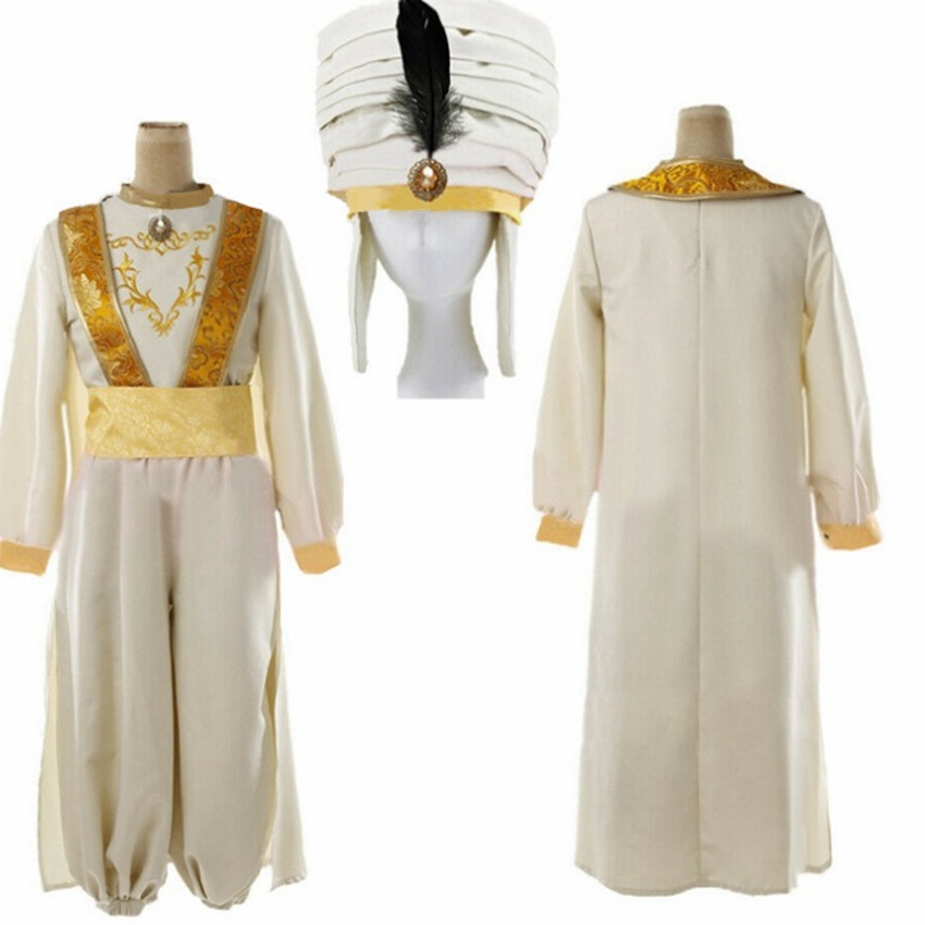 Man Prince Aladdin Lamp Cosplay Halloween Stage Costume Adult Clothes Set Pants With Hat Jasmine MV Clothing For Man