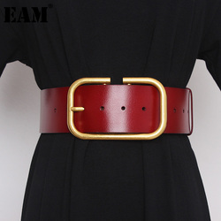 [EAM]  Pu Leather Big Buckle Split Joint Long Wide Belt Personality Women New Fashion Tide All-match Spring Autumn 2021 1Z948
