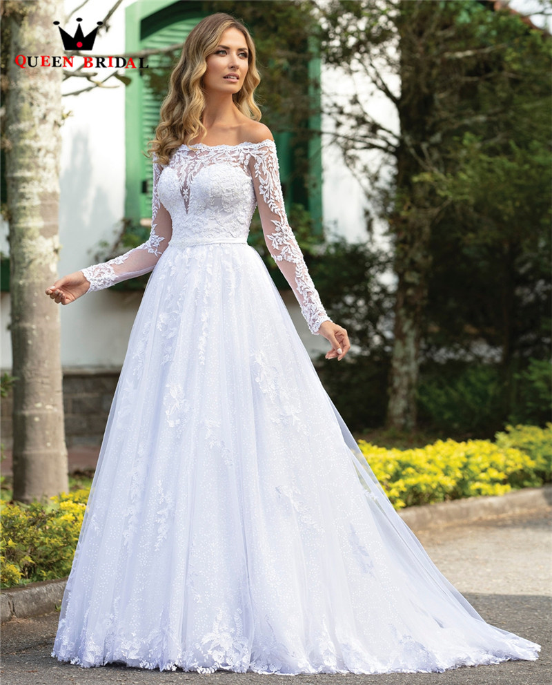 Us 328 0 25 Off Custom Made 2020 New Design Wedding Dresses A Line Long Sleeve Tulle Lace Crystal Beaded Luxury Gowns Co29 On Aliexpress