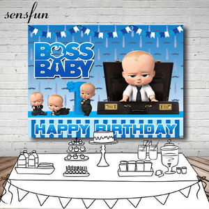 Image 1 - Sensfun Blue Little Men Boss Baby Birthday Party Backdrop For Photo Studio Boys Photography Backgrounds 7x5FT Vinyl Polyester