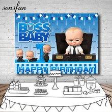 Sensfun Xanh Dương Nhỏ Nam Boss Baby Sinh Nhật Bối Cảnh Cho Studio Ảnh Bé Trai Chụp Ảnh Nền 7x5FT Vincy Polyester