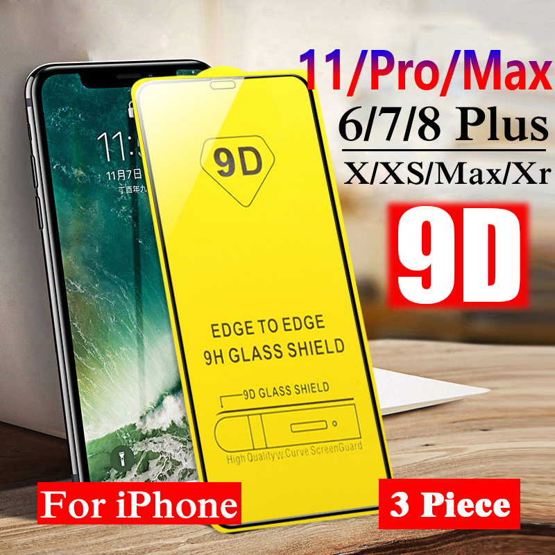 9D Protective Glass For IPhone 6 6S 7 8 Plus X XS 11 Pro MAX Full Cover Screen Protective Glass For IPhone 7 8 6 6S Plus Film