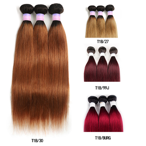 Image 5 - Ombre Red Brazilian Straight Human Hair Weave Bundles 1B 30 Brown 8 26 Inch Hair Bundles Non Remy Hair Extension 1/3/4 PCS KEMY