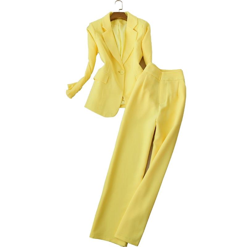 Women's Suits High Quality Pants Set 2019 Winter Professional Solid Color Ladies Jacket Blazer Elegant Wide-leg Pants Two-piece