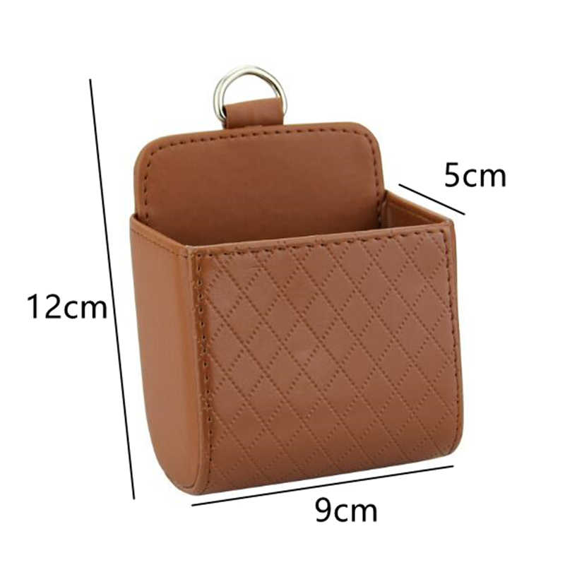 8Pcs/Lot Leather Car Coin Bag Case Pocket Organizer Hanging Holder Pouch Auto Box Car Outlet Vent Seat Back Tidy Storage Boxes